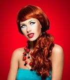 Beautiful sensual woman with long red hairs royalty free stock photos