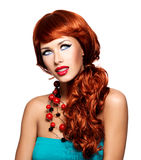 Beautiful sensual woman with long red hairs. Royalty Free Stock Photos