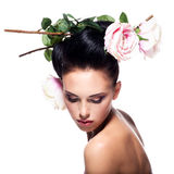 Beautiful sensual woman with pink silk. Royalty Free Stock Photos