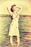 Retro style photo of young woman Royalty Free Stock Images