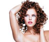 Beautiful sensual woman touching her hair. Royalty Free Stock Photography