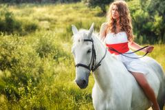 Beautiful sensual women riding on white horse Royalty Free Stock Images