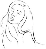 Beautiful sensual young woman illustration - black line Royalty Free Stock Image