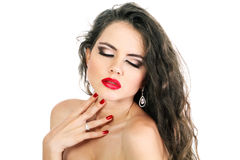 Beautiful Sensual young woman with red lips Royalty Free Stock Photography