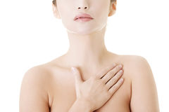 Beautiful sensual young woman touching her chest Royalty Free Stock Images