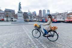 Beautiful sensuality elegance lady on bicycle