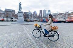 Beautiful Sensuality Elegance Lady On Bicycle Stock Photo