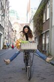 Beautiful Sensuality Elegance Lady On Bicycle Stock Images