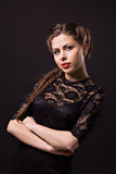 Beautiful sensuality woman. With red lips in black lace dress Royalty Free Stock Images