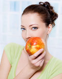 Beautiful sensulity woman with apple Stock Photos