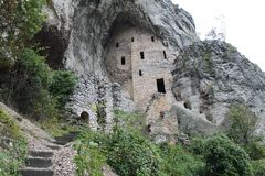 Monastery Blagovestenje - Serbia. Beautiful serbian monastery built in the rock in south serbia stock photo