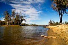 Beautiful serene lake. Beautiful view of a serene lake in Mina de S�o Domingos, Portugal Royalty Free Stock Photos