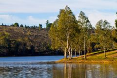 Beautiful serene lake. Beautiful view of a serene lake in Mina de S�o Domingos, Portugal Stock Images