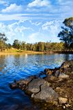 Beautiful serene lake. Beautiful view of a serene lake in Mina de S�o Domingos, Portugal Royalty Free Stock Photo