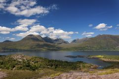 Beautiful and serene landscape of a lake and mountains in the Highlands of Scotland, United Kingdom Royalty Free Stock Photo