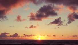 Free Beautiful Serene Sunset Clouds Sky Over The Ocean Horizon Stock Photos - 198533463