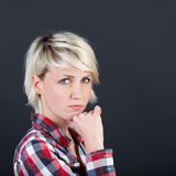 Beautiful And Serious Blond Woman Royalty Free Stock Photography