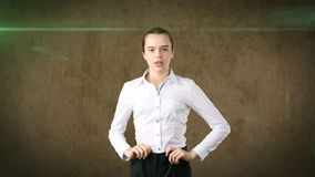 Beautiful serious businesswoman portrait, isolated studio background Royalty Free Stock Photography