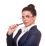 Beautiful, serious  businesswoman  wearing glasses. Royalty Free Stock Photos