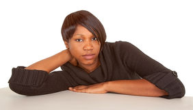 Beautiful and Serious Lady. Portrait of a beautiful and serious African American Lady Royalty Free Stock Photography