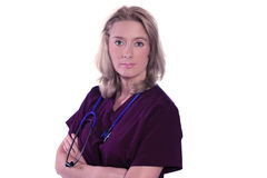 Beautiful serious nurse or doctor Royalty Free Stock Images