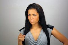 Beautiful but Serious Teen Latina Stock Photo