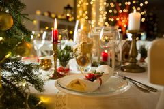 Beautiful served table with decorations, candles and lanterns Royalty Free Stock Images