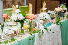 Beautiful served table for a wedding dinner Royalty Free Stock Photo