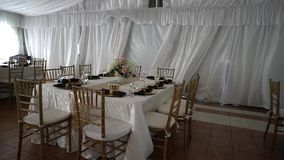 Beautiful serving exquisite wedding table, decor. Beautiful serving exquisite wedding table decor stock video footage