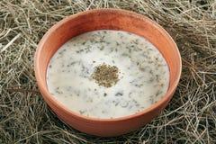 Beautiful Serving Vintage Ceramic Bowl of Homemade Kefir Soup Dovga. Or Tarator. National Sour-Milk Meal of Azerbaijani Cuisine with Yogurt, Herbs and Greens on stock photos