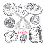 Bakery products set. Beautiful set of bakery products. hand-drawn illustration Royalty Free Stock Photo