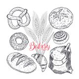 Bakery products set. Beautiful set of bakery products. hand-drawn illustration Stock Images
