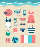 Beautiful set of beach essentials Royalty Free Stock Images