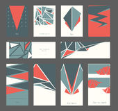 Beautiful set of business cards and banners based on triangles and red and blue colors. Vector geometric collection good for print Royalty Free Stock Photos