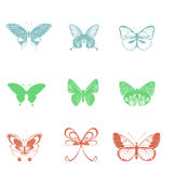 Beautiful set butterflies on a white background Royalty Free Stock Photo