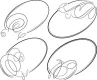 Beautiful set of 4 decorative oval vector frames. Stock Images