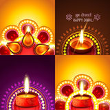 Beautiful set of diwali background illustration Royalty Free Stock Image