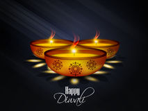 Beautiful Set of diya with abstract background Royalty Free Stock Images