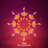 Beautiful Set of diya with abstract background Stock Images