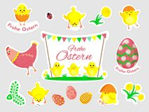 Beautiful set of Easter doodles in vector. stock illustration
