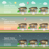 Beautiful set of flat vector web banners on the theme  country Real Estate Stock Photos