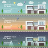 Beautiful set of flat vector web banners on the theme modern Real Estate  Royalty Free Stock Images