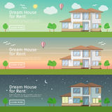Beautiful set of flat vector web banners on the theme  modern Real Estate  Stock Photo