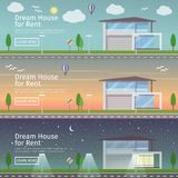 Beautiful set of flat vector web banners on the theme  modern Real Estate  Royalty Free Stock Image