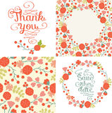 Beautiful set of greeting card with floral wreath, seamless pattern. Stock Photo