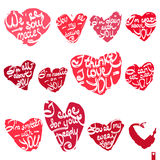 Beautiful set of hearts with the different declarations of love. Lettering Royalty Free Stock Images