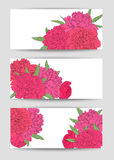 Beautiful Set of horizontal banners with flowers. Hand-drawn background for greeting cards and invitations Royalty Free Stock Photography