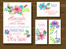 Beautiful set of invitation cards with watercolor flowers elemen. Ts and calligraphic letters. Wedding collection Royalty Free Stock Photography