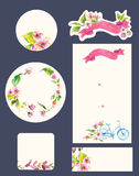 Beautiful set of invitation cards with watercolor flowers elemen Stock Photo