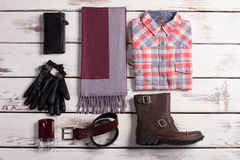 Beautiful set of of men's clothes and accessories. Stock Images